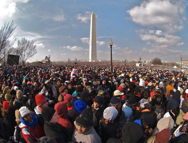 Crowds gather near the Washington Monument on Inauguration Day in 2009. (alextorrenegra/Flickr)