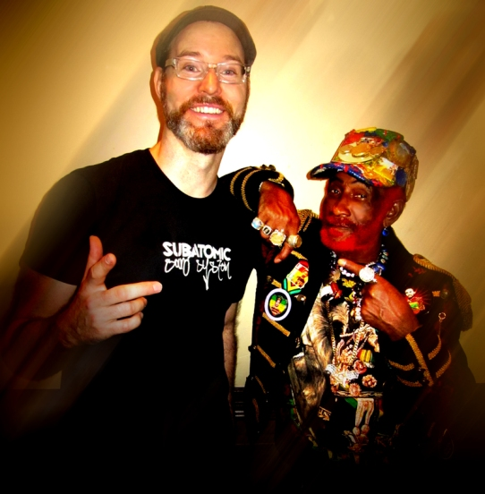 "SUBATOMIC SOUND SYSTEM'S DJ/PRODUCER EMCH  (LEFT) AND LEE ""SCRATCH"" PERRY"