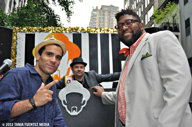 JOSH MILAN (RIGHT) PERFORMS WITH LOUIE VEGA (CENTER) AND OVEOUS MAXIMUS AT 2013 NYC DANCE PARADE