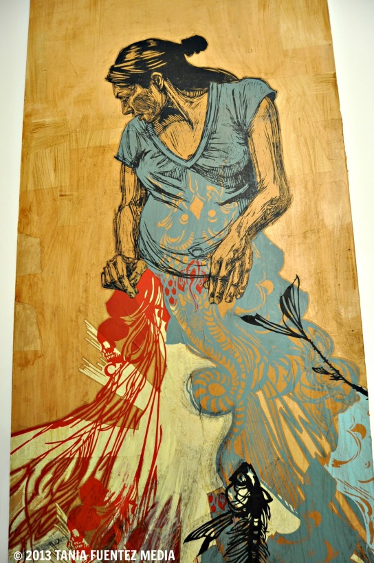 PICTURED: #128 ZHARA, HAND-PAINTED SCREENPRINT ON LUAN WOOD BY ARTIST SWOON
