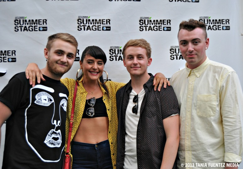 DISCLOSURE'S HOWARD (FAR LEFT)  AND GUY (CENTER RIGHT) LAWRENCE WITH JESSIE WARE AND SAM SMITH AT CENTRAL PARK SUMMERSTAGE