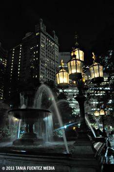 NIGHT SCENE, CITY HALL PARK, NY